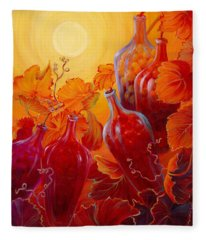 Fleece Blanket featuring the painting Wine On The Vine II by Sandi Whetzel