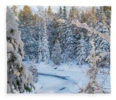 Winter At Grand Marais Creek Fleece Blanket