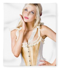 Woman In Corset Dress Fleece Blanket