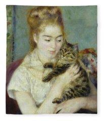 Woman With A Cat Fleece Blanket