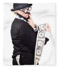 Woman With Dollar Paper Roll Fleece Blanket