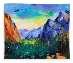 Yosemite Valley - Tunnel View Fleece Blanket