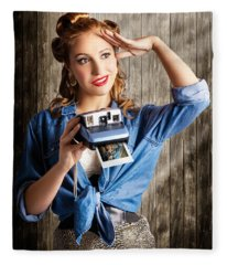 Young Retro Woman Holding Instant Camera Fleece Blanket