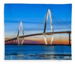 Charleston Arthur Ravenel Bridge Fleece Blanket