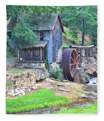 Sixes Mill On Dukes Creek - Square Fleece Blanket