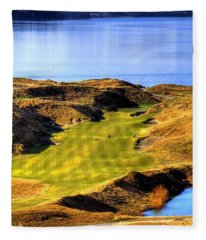 10th Hole At Chambers Bay Fleece Blanket