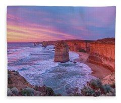 12 Apostles At Sunset Pano Fleece Blanket