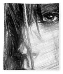Fleece Blanket featuring the digital art Facial Expressions by Rafael Salazar