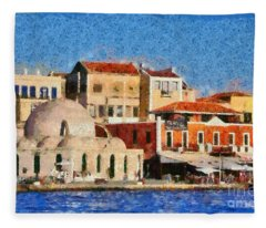 Painting Of The Old Port Of Chania Fleece Blanket
