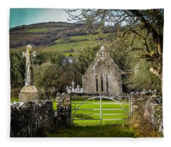 12th Century Cross And Church In Ireland Fleece Blanket