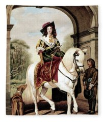 1600s Woman Riding Sidesaddle Painting Fleece Blanket