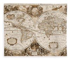 1630 Antique World Map Fleece Blanket