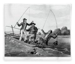 1800s Three 19th Century Men In Boat Fleece Blanket