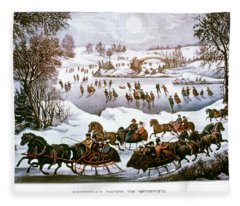 1860s Central Park In Winter - New York Fleece Blanket