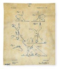 1865 John Deere Plow Patent Vintage Fleece Blanket