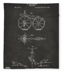1866 Velocipede Bicycle Patent Artwork - Gray Fleece Blanket