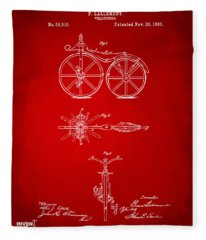 1866 Velocipede Bicycle Patent Artwork Red Fleece Blanket