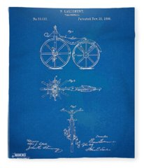 1866 Velocipede Bicycle Patent Blueprint Fleece Blanket