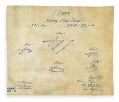 1867 John Deere Plow Irons Patent Vintage H Fleece Blanket