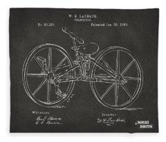 1869 Velocipede Bicycle Patent Artwork - Gray Fleece Blanket
