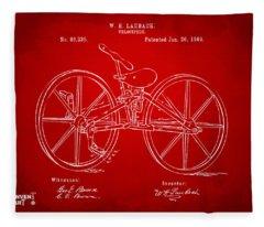 1869 Velocipede Bicycle Patent Artwork Red Fleece Blanket