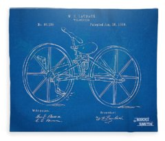 1869 Velocipede Bicycle Patent Blueprint Fleece Blanket