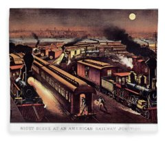 1870s Night Scene At An American Fleece Blanket