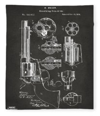 1875 Colt Peacemaker Revolver Patent Artwork - Gray Fleece Blanket