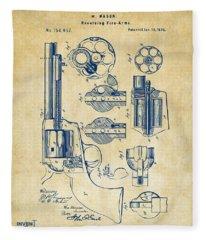 1875 Colt Peacemaker Revolver Patent Vintage Fleece Blanket
