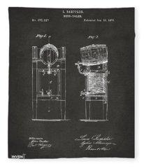 1876 Beer Keg Cooler Patent Artwork - Gray Fleece Blanket
