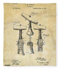 1883 Wine Corckscrew Patent Art - Vintage Black Fleece Blanket