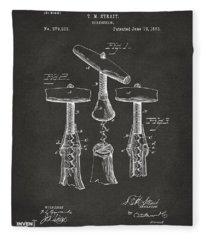 1883 Wine Corckscrew Patent Artwork - Gray Fleece Blanket