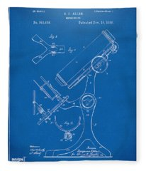 1886 Microscope Patent Artwork - Blueprint Fleece Blanket