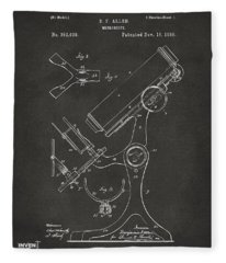 1886 Microscope Patent Artwork - Gray Fleece Blanket