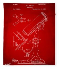 1886 Microscope Patent Artwork - Red Fleece Blanket
