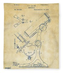 1886 Microscope Patent Artwork - Vintage Fleece Blanket