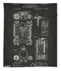 1889 First Computer Patent Gray Fleece Blanket