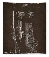1899 Browning Bolt Gun Patent Espresso Fleece Blanket