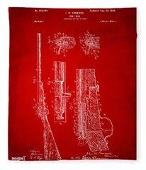 1899 Browning Bolt Gun Patent Red Fleece Blanket