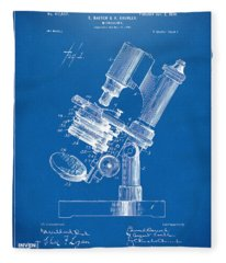 1899 Microscope Patent Blueprint Fleece Blanket