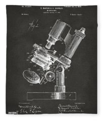 1899 Microscope Patent Gray Fleece Blanket
