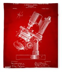 1899 Microscope Patent Red Fleece Blanket