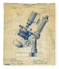 1899 Microscope Patent Vintage Fleece Blanket