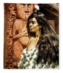 1900s 1902 Illustration Of Maori Girl Fleece Blanket