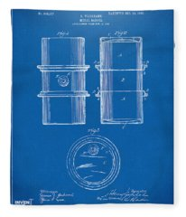 1905 Oil Drum Patent Artwork - Blueprint Fleece Blanket