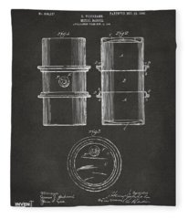 1905 Oil Drum Patent Artwork - Gray Fleece Blanket