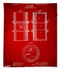 1905 Oil Drum Patent Artwork - Red Fleece Blanket
