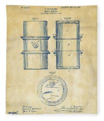 1905 Oil Drum Patent Artwork - Vintage Fleece Blanket