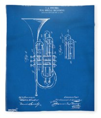 1906 Brass Wind Instrument Patent Artwork Blueprint Fleece Blanket