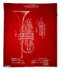 1906 Brass Wind Instrument Patent Artwork Red Fleece Blanket